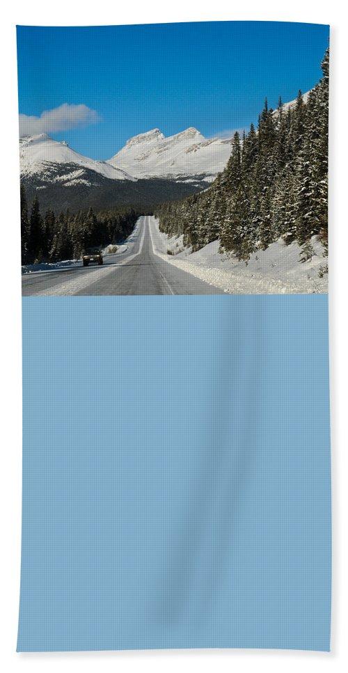 Alp Bath Sheet featuring the photograph Highway In Winter Through Mountains by U Schade