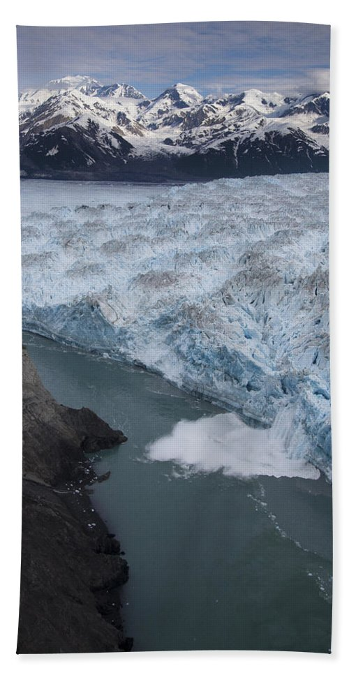 00477978 Hand Towel featuring the photograph Hubbard Glacier Encroaching On Gilbert Point by Matthias Breiter
