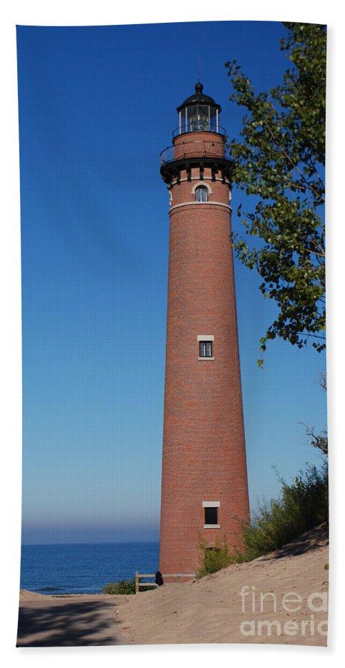 Little Sable Point Lighthouse Bath Sheet featuring the photograph Little Sable Point Lighthouse by Grace Grogan