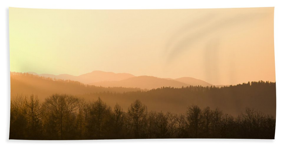 Mountains Bath Sheet featuring the photograph Mountains On Fire by Ian Middleton