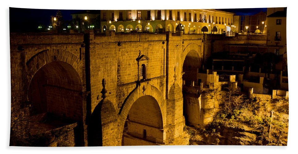 New Hand Towel featuring the photograph New Bridge In Ronda by Artur Bogacki