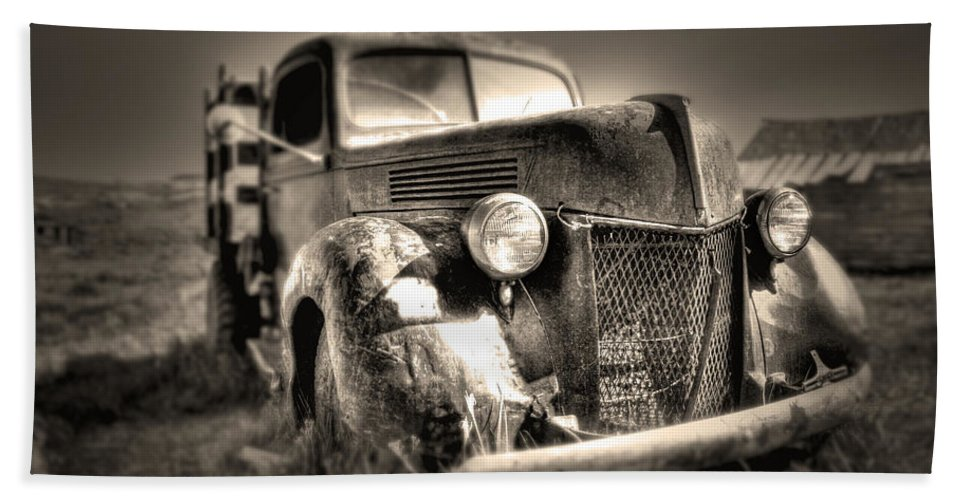 Old Truck At Bodie Bath Sheet featuring the photograph Old Truck At Bodie by Chris Brannen