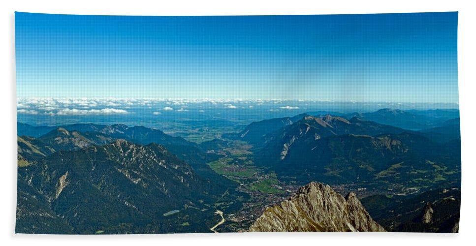 Alpine Bath Sheet featuring the photograph Panoramic View Zugspitze German Austrian Boarder by U Schade