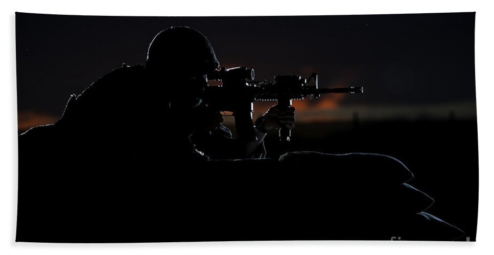 Afghanistan Hand Towel featuring the photograph Partially Silhouetted U.s. Marine by Terry Moore