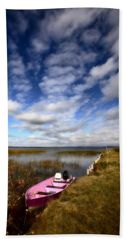 Pink Bath Sheet featuring the photograph Pink Boat In Scenic Saskatchewan by Mark Duffy