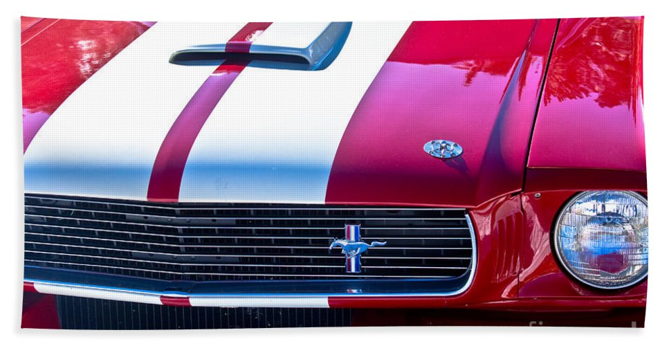Red Bath Sheet featuring the photograph Red 1966 Ford Mustang Shelby by James BO Insogna