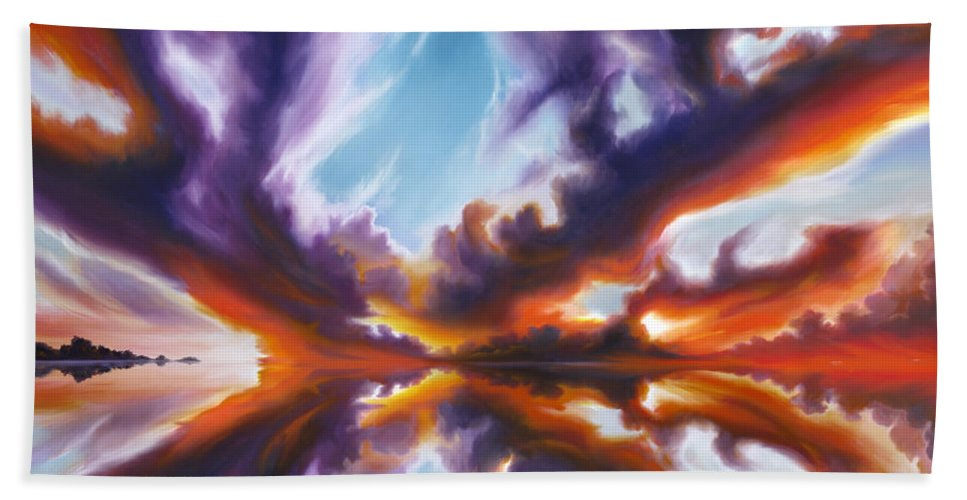 Bright Clouds; Sunsets; Reflections; Ocean; Water; Purple; Orange; Storms; Lightning; Contemporary; Abstract; Realism; James Christopher Hill; James Hill Studios; James C. Hill Bath Towel featuring the painting Reflections of the Mind by James Christopher Hill