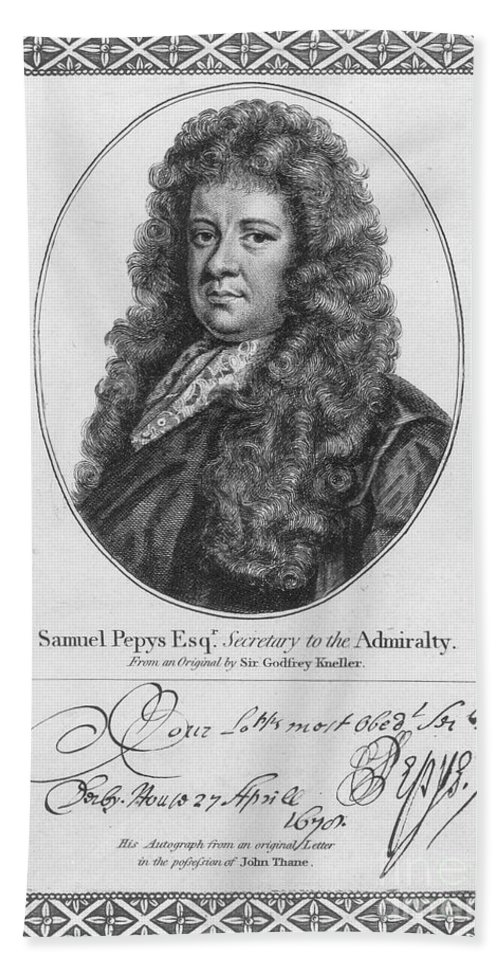 18th Century Hand Towel featuring the photograph Samuel Pepys (1633-1703) by Granger