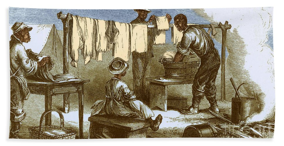 America Hand Towel featuring the photograph Slaves In Union Camp by Photo Researchers