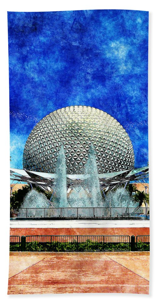 Disney Hand Towel featuring the digital art Spaceship Earth and Fountain of Nations by Sandy MacGowan