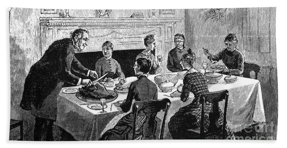 19th Century Bath Sheet featuring the photograph Thanksgiving, 19th Century by Granger