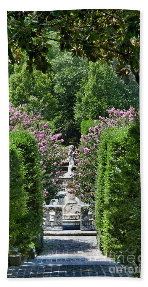 Crape Myrtle Bath Sheet featuring the photograph The Elizabethan Gardens by John Greim