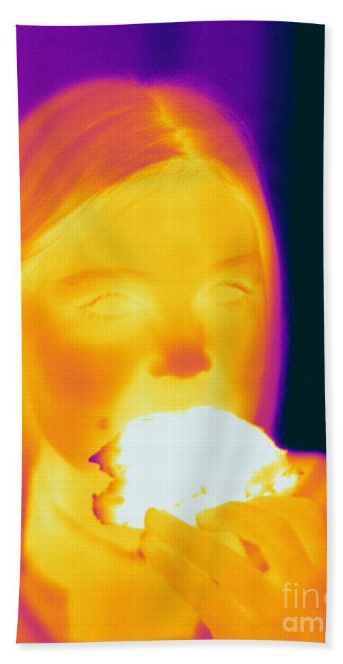 Thermogram Hand Towel featuring the photograph Thermogram Of A Girl by Ted Kinsman