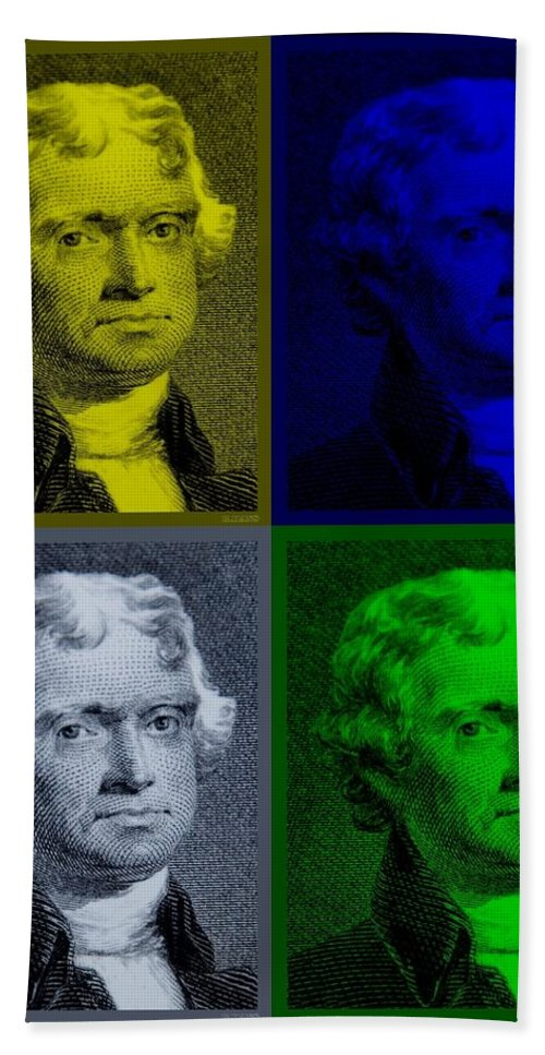 Thomas Jefferson Bath Sheet featuring the photograph Thomas Jefferson In Quad Colors by Rob Hans