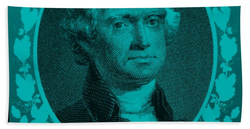 Thomas Jefferson Bath Sheet featuring the photograph Thomas Jefferson In Turquois by Rob Hans