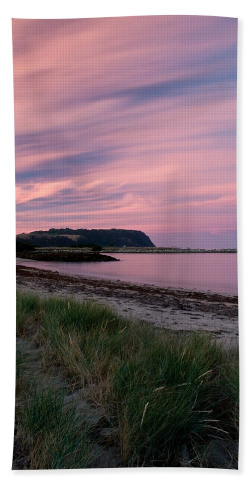 Red Bath Sheet featuring the photograph Twilight After A Sunset At A Beach by U Schade