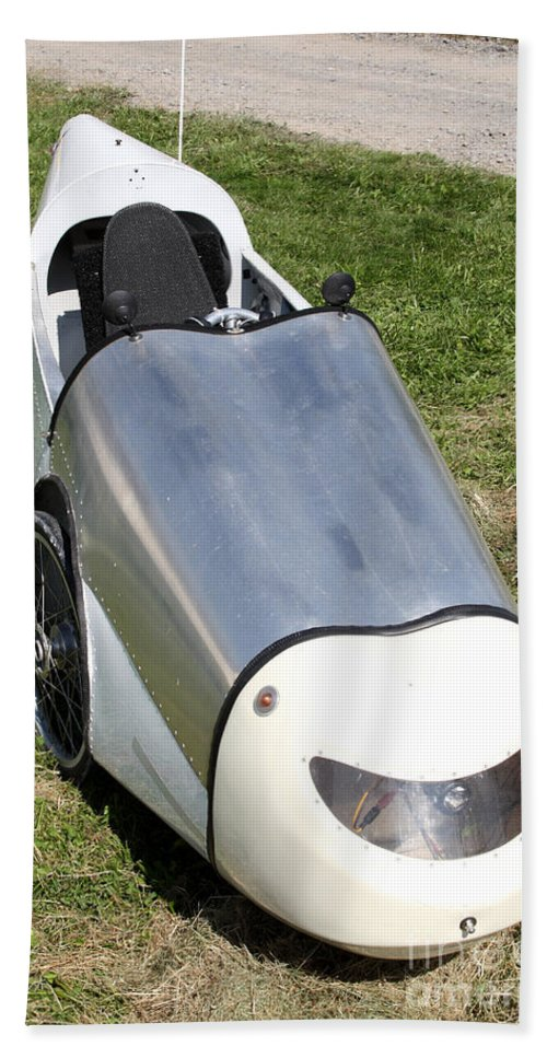Human Powered Hand Towel featuring the photograph Velomobile by Ted Kinsman