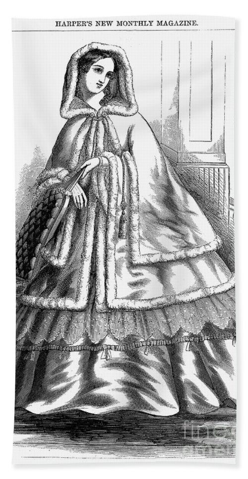 America Hand Towel featuring the photograph Womens Fashion. C1850s by Granger