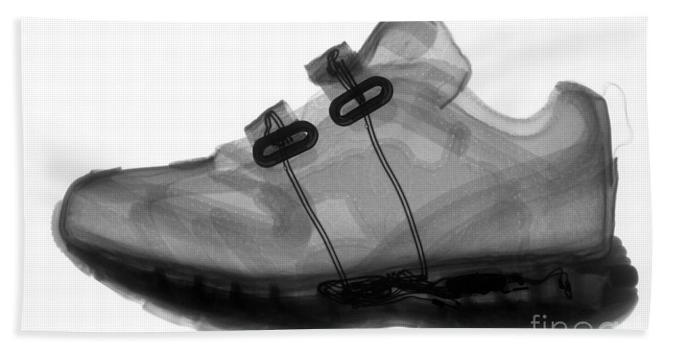 X-ray Hand Towel featuring the photograph X-ray Of Childs Shoe by Ted Kinsman