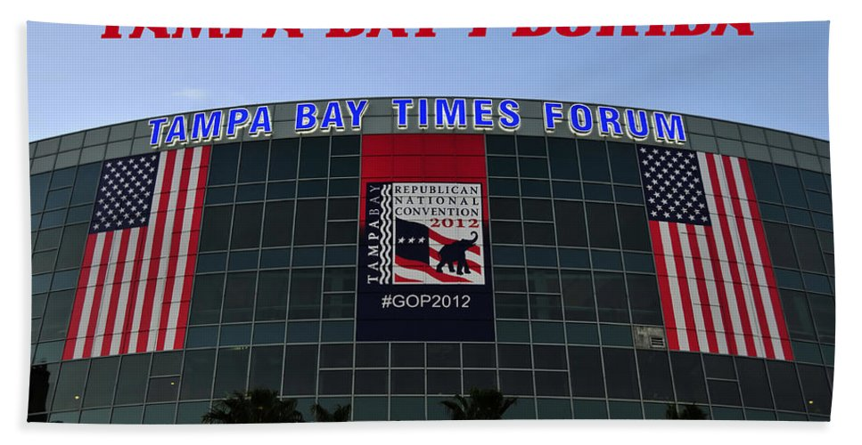 Fine Art Photography Bath Sheet featuring the photograph 2012 Gop Convention Site by David Lee Thompson