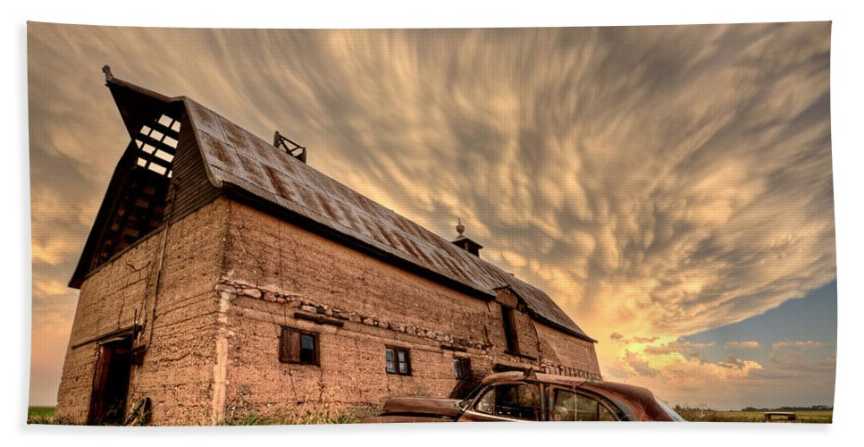 Storm Bath Sheet featuring the photograph Storm Clouds Saskatchewan by Mark Duffy