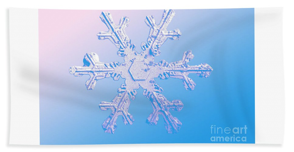 Snow Crystal Hand Towel featuring the Snow Crystal by Science Source