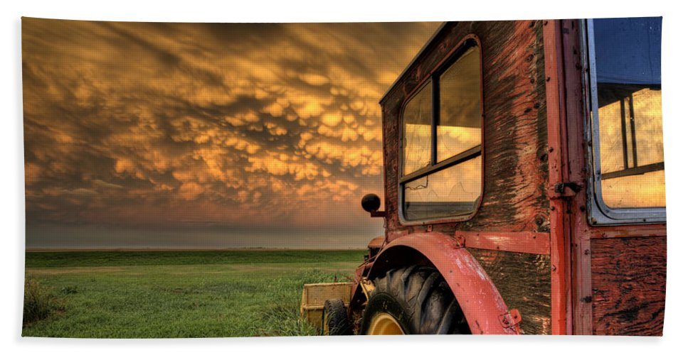 Storm Bath Sheet featuring the photograph Storm Clouds Saskatchewan by Mark Duffy