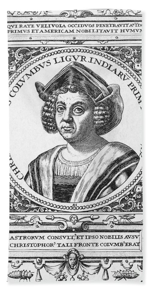 15th Century Hand Towel featuring the photograph Christopher Columbus by Granger