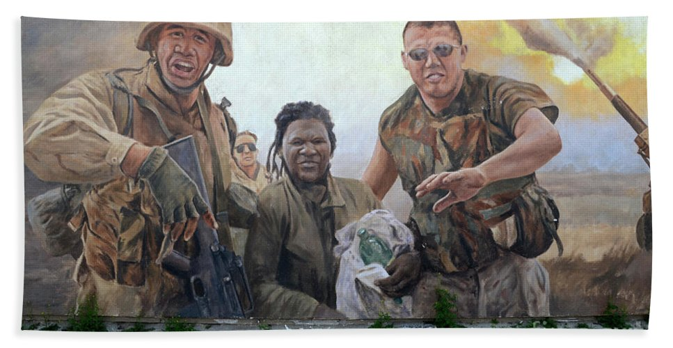 Mural Bath Sheet featuring the photograph 29 Palms Mural 2 by Bob Christopher