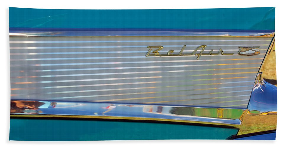 1957 Chevy Convertable Hand Towel featuring the photograph 1957 Chevy Convertable by Mark Dodd