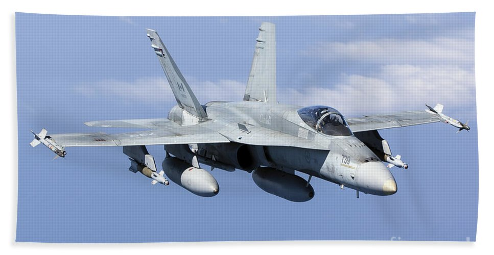 Laser Guided Bombs Bath Sheet featuring the photograph A Cf-188a Hornet Of The Royal Canadian by Gert Kromhout