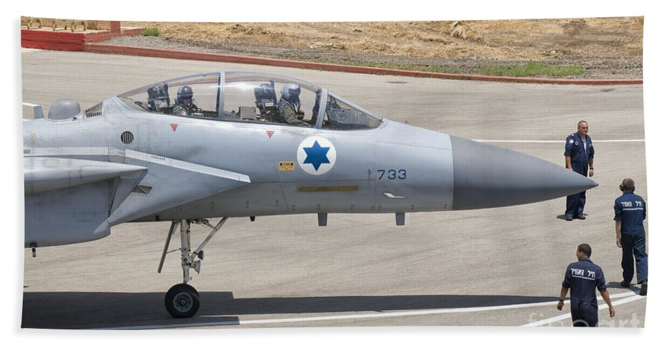 Israel Bath Sheet featuring the photograph An F-15d Eagle Baz Aircraft by Giovanni Colla