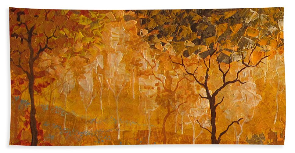 Hand Towel featuring the painting Autumn by Stefan Georgiev