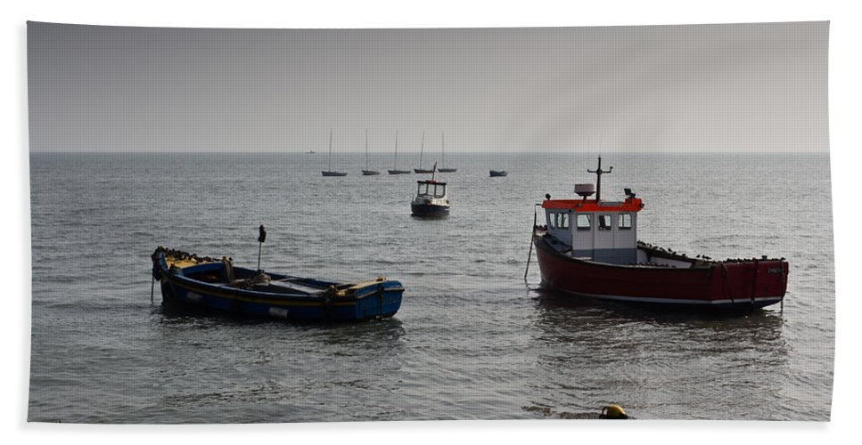 Dinghie Hand Towel featuring the photograph Boats Moored Off Of Leigh Essex by David Pyatt