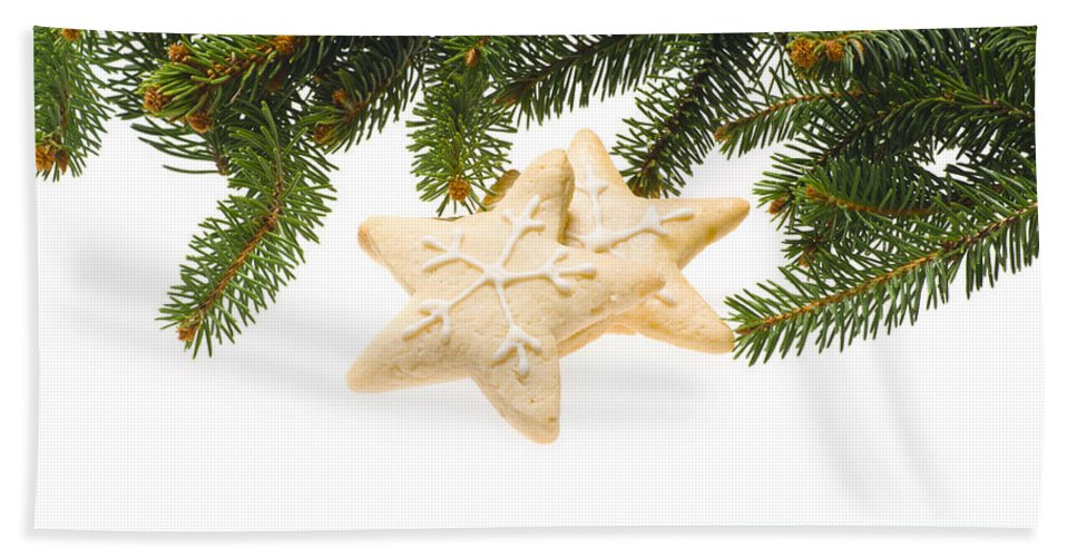 Icing Sugar Bath Sheet featuring the photograph Christmas Cookies Decorated With Real Tree Branches by U Schade