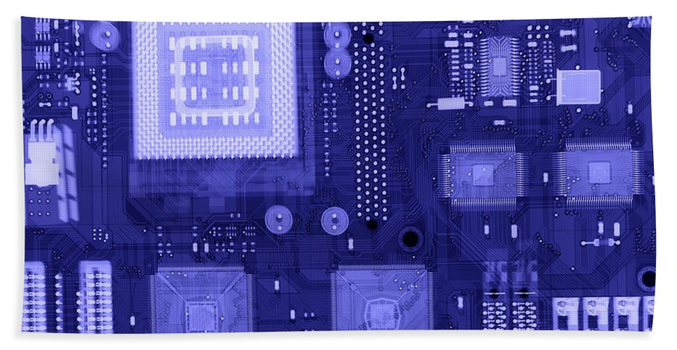 Xray Hand Towel featuring the Circuit Board by Ted Kinsman