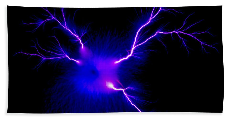 Spark Hand Towel featuring the photograph Electric Spark by Ted Kinsman