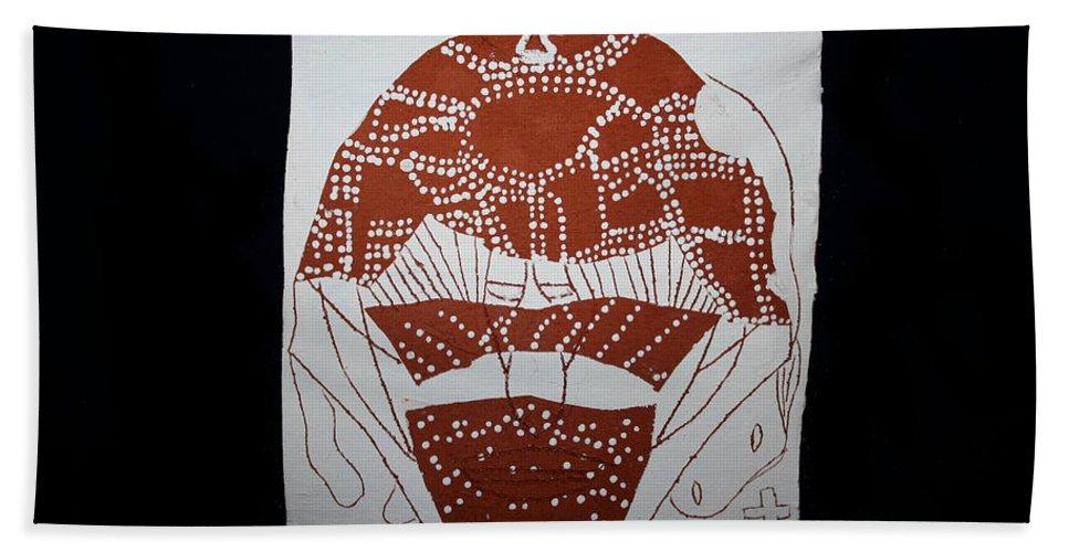 Jesus Bath Sheet featuring the ceramic art Good Shepherd by Gloria Ssali