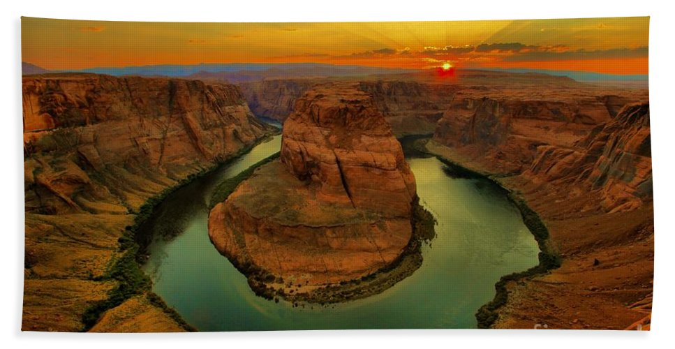 Hand Towel featuring the photograph Horseshoe Bend by Adam Jewell