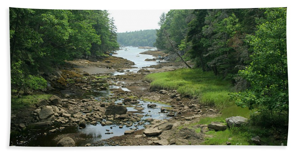 Tide Hand Towel featuring the photograph Low Tide In Maine Part Of A Series by Ted Kinsman