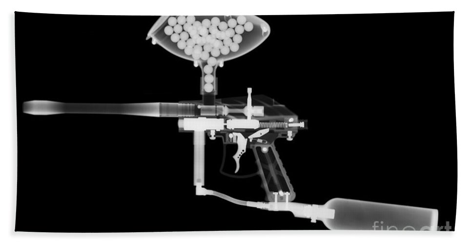 Radiograph Hand Towel featuring the Paintball Gun by Ted Kinsman