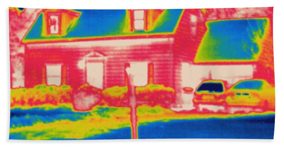 Thermogram Hand Towel featuring the photograph Thermogram Of A House by Ted Kinsman