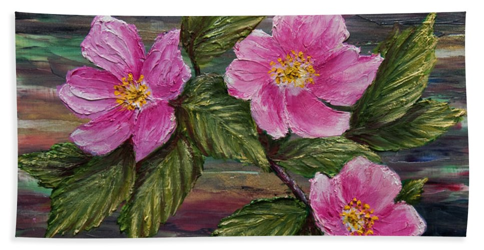 Wild Rose Bath Sheet featuring the painting 3 Wild Roses by Dee Carpenter