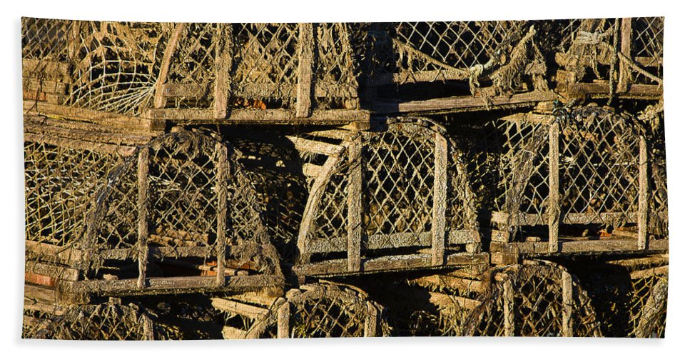 cape Cod Hand Towel featuring the photograph Wooden Lobster Traps by John Greim