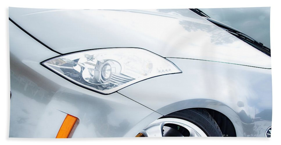 Automobiles Bath Sheet featuring the photograph 350z Car Front Close-up by James BO Insogna