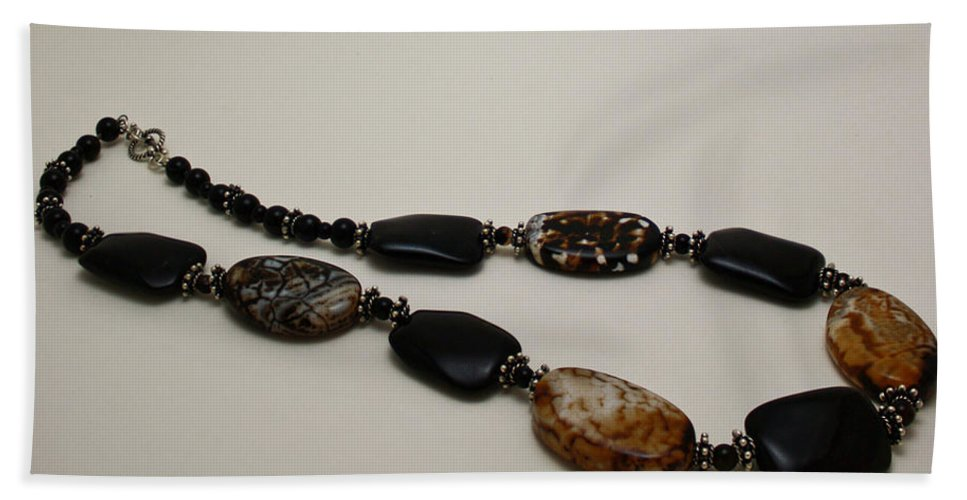 Original Handmade Jewelry Bath Sheet featuring the jewelry 3617 Crackle Agate And Onyx Necklace by Teresa Mucha