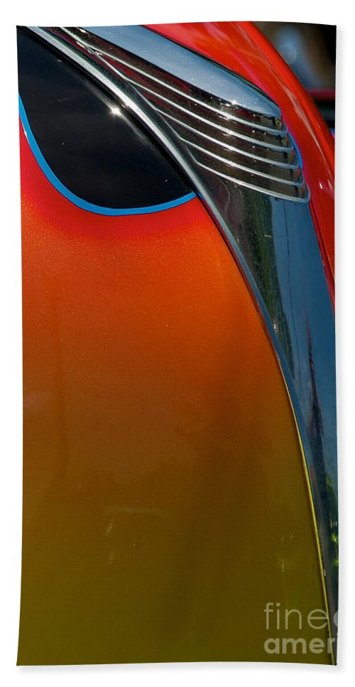 39 Ford Deluxe Bath Sheet featuring the photograph 39 Ford Deluxe Hot Rod Hood Ornament by Mark Dodd