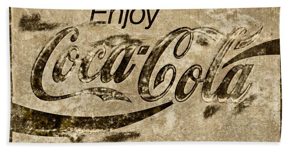 Coca Cola Bath Sheet featuring the photograph Coca Cola Sign Grungy Retro Style by John Stephens