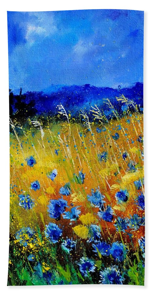 Flowers Hand Towel featuring the painting Blue cornflowers by Pol Ledent