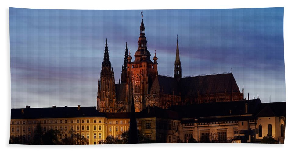 Prague-castle Bath Sheet featuring the photograph Cathedral Of St Vitus by Michal Boubin